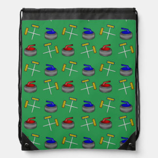 Green curling pattern drawstring bag