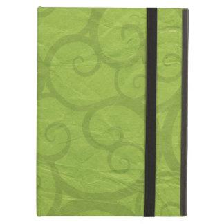 Green curls lines iPad air cases