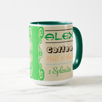 Green Curly Border Custom Order Mug