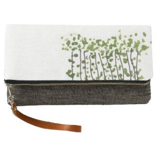 Green Curtain fold-over clutch