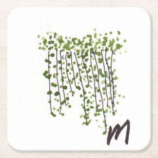Green Curtain Square Paper Coaster