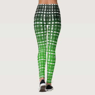 Green Cyberpunk Plaid Scifi Fashion Leggings