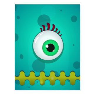 Green cyclopes monster with a huge eye postcard