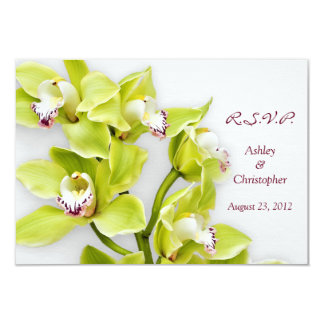 Green Cymbidium Orchid Chartreuse Wedding RSVP Card