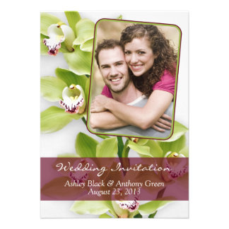Green Cymbidium Orchid Photo Wedding Invitation