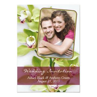 "Green Cymbidium Orchid Photo Wedding Invitation 5"" X 7"" Invitation Card"