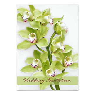 Green Cymbidium Orchid Wedding Invitation 5x7 Size