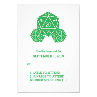 "Green D20 Dice Response Card 3.5"" X 5"" Invitation Card"