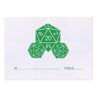 Green D20 Dice Wedding Place Card Chubby Business Cards