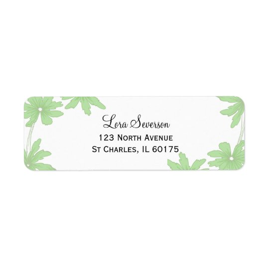 Green Daisies on White Return Address Label