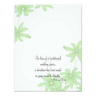 Green Daisies Wedding Charity Card Custom Invitations