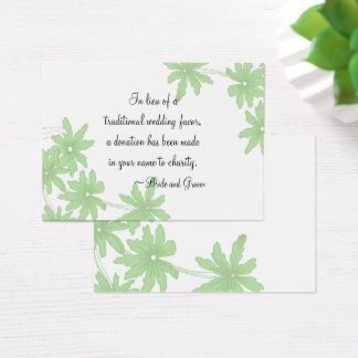 Green Daisies Wedding Charity Favor Card