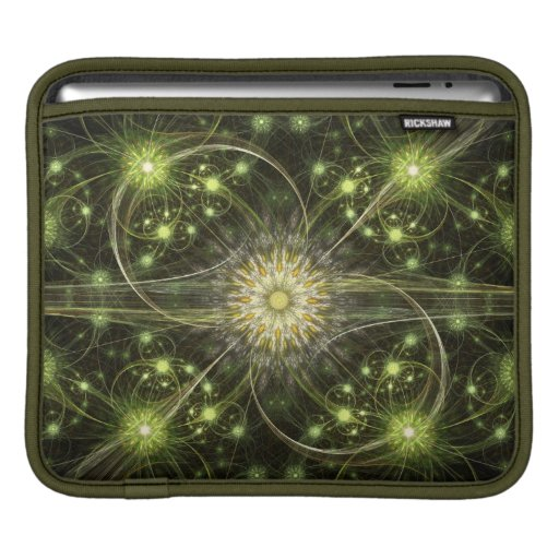 Green Daisy Flame Fractal Sleeves For iPads
