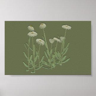 Green Daisy wall poster