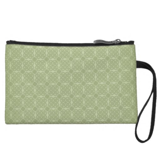 Green Damask Accessory Clutch or Makeup Bag Wristlet