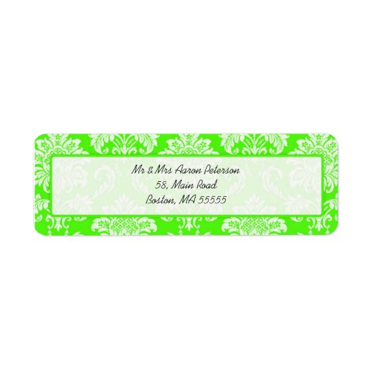 Green Damask Customizable Address Labels
