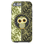 green damask cute owl tough iPhone 6 case