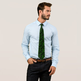 Green damask decor tie