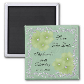 Green Damask & Flowers 40th Birthday Square Magnet
