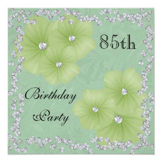 "Green Damask & Flowers 85th Birthday 5.25"" Square Invitation Card"