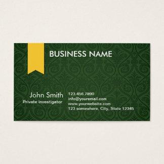 Green Damask Investigator Business Card