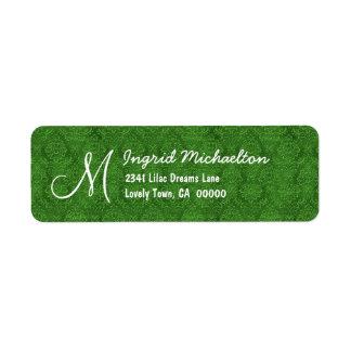 Green Damask Monogram M or Any Initial M009 Return Address Label