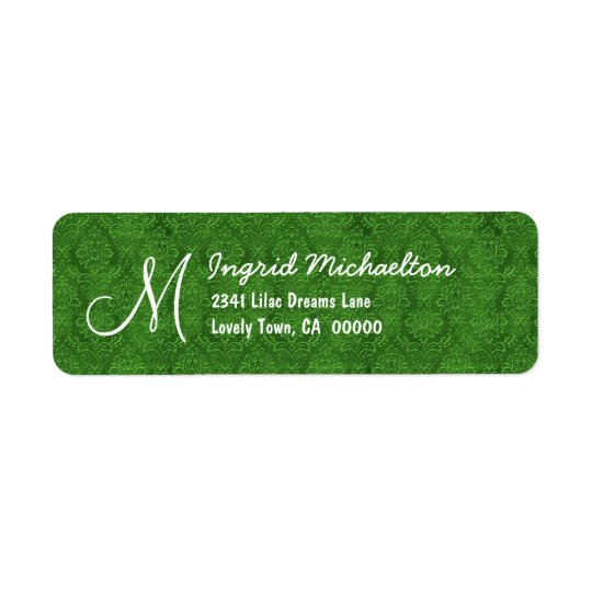 Green Damask Monogram M or Any Initial M009 Return Address Label