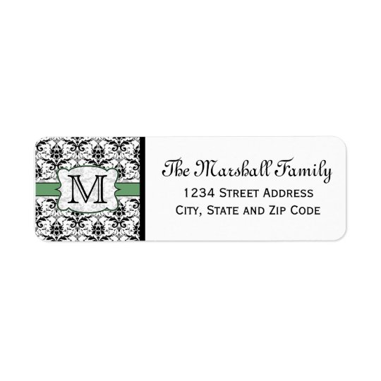 (Green) Damask Monogram Return Address Labels