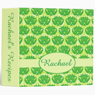 Green Damask Name Personalized Notebook Album Vinyl Binder