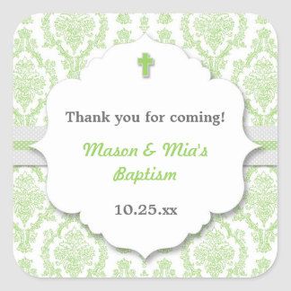 Green Damask neutral gen Christening Baptism favor Square Sticker