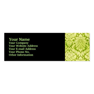 GREEN DAMASK PACK OF SKINNY BUSINESS CARDS