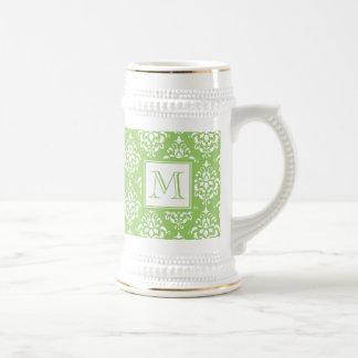Green Damask Pattern 1 with Monogram 18 Oz Beer Stein