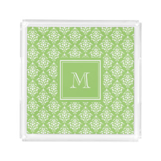 Green Damask Pattern 1 with Monogram Acrylic Tray