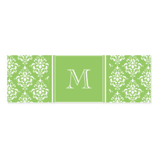 Green Damask Pattern 1 with Monogram Mini Business Card