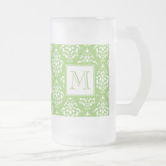Green Damask Pattern 1 with Monogram Frosted Glass Mug
