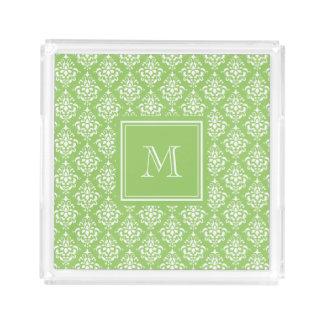 Green Damask Pattern 1 with Monogram Perfume Tray