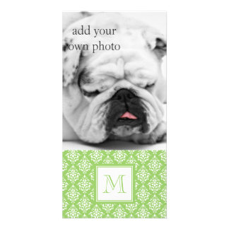 Green Damask Pattern 1 with Monogram Photo Card Template