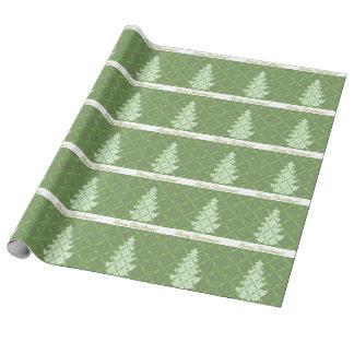 Green Damask Pattern Christmas Tree
