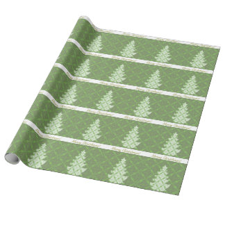 Green Damask Pattern Christmas Tree Wrapping Paper