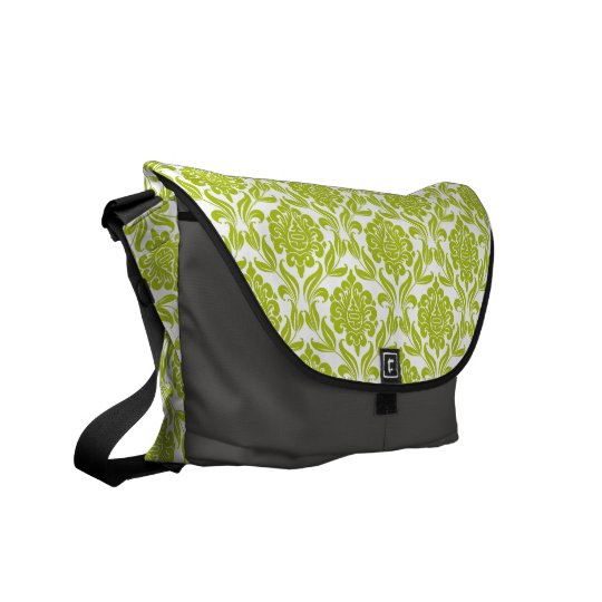 Green Damask Pattern Courier Bag