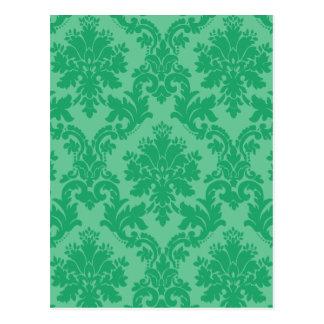 Green Damask Pattern Postcard