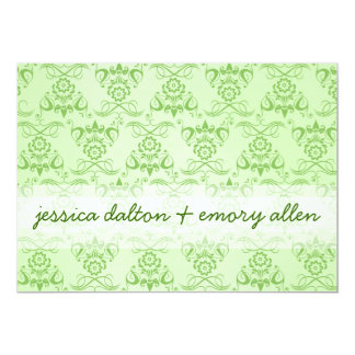 """Green Damask"" Save-the-date 5"" X 7"" Invitation Card"