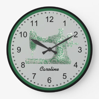 Green Damask Sewing Machine Wall Clock