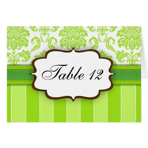 Green Damask Stripe Table Number Greeting Card