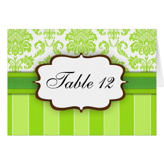 Green Damask Stripe Table Number Greeting Card