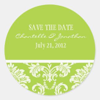 Green Damask Wedding Sticker