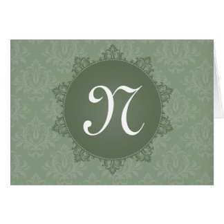 Green Damask with Initial Note Card