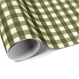 Green Dark Gingham Wrapping Paper