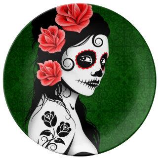 Green Day of the Dead Sugar Skull Girl Porcelain Plates