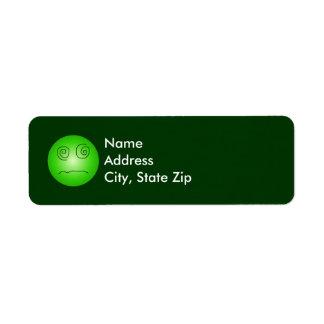 Green Dazed and Confused Smiley Return Address Label